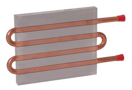CP12G02 Aluminum Cold Plate with 4-Pass Copper tube, beaded fittings