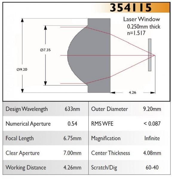 354115A Aspheric Lens, EFL 6.75, NA 0.54, CA 7.00, OD 9.20, A Coating