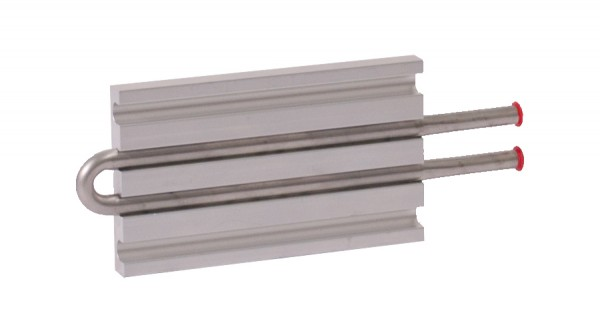 CP10G03 Aluminum Cold Plate with 2-Pass Stainless Steel tube, straight fittings