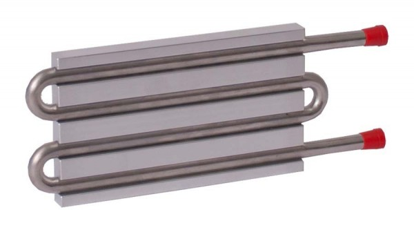 CP10G16 Aluminum Cold Plate with 4-Pass Stainless Steel tube, straight fittings