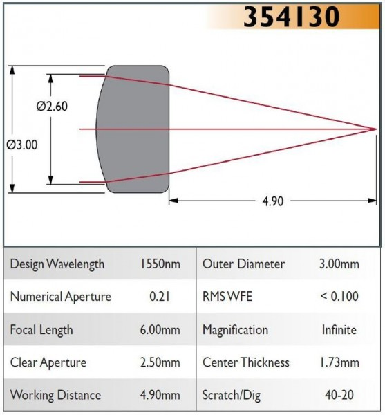 354130A Aspheric Lens, EFL 6.00, NA 0.21, CA 2.50, OD 3.00, A Coating
