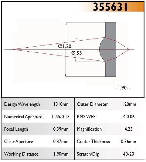 355631C Aspheric Lense, EFL 0.39, NA 0.55/0.13, CA 0.37, OD 1.20, C Coating