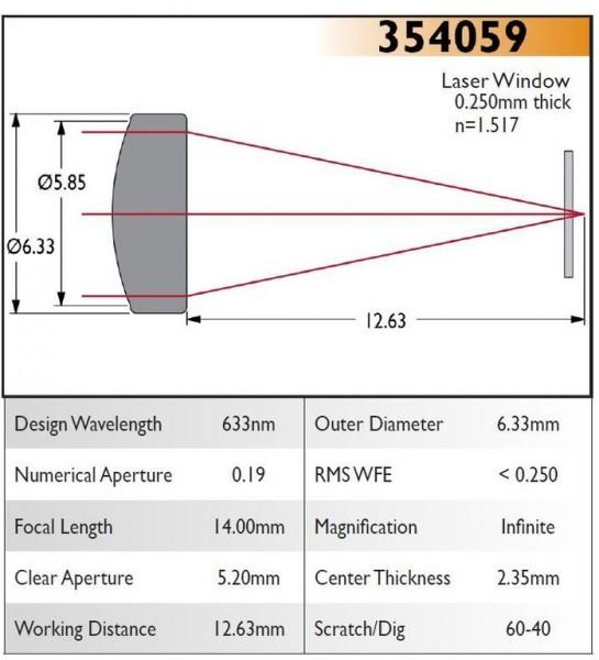 354059B Aspheric Lens, EFL 14.00, NA 0.19, CA 5.20, OD 6.33, B Coating