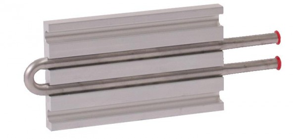 CP10G04 Aluminum Cold Plate with 2-Pass Stainless Steel tube, beaded fittings