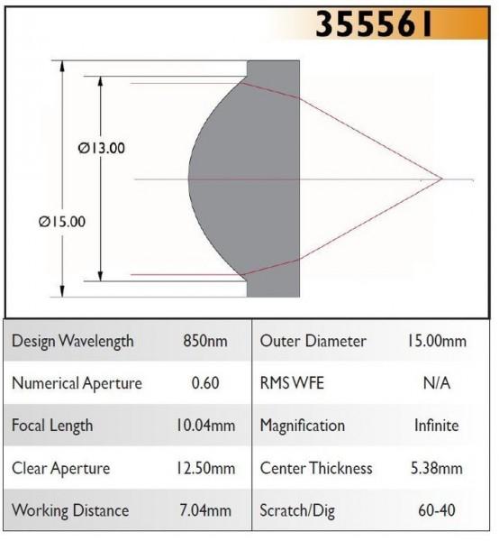 355561A Aspheric Lens, EFL 10.04, NA 0.60, CA 12.50, OD 15.00, A Coating