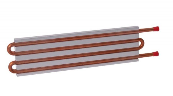 CP10G18 Aluminum Cold Plate with 4-Pass Copper tube, straight fittings