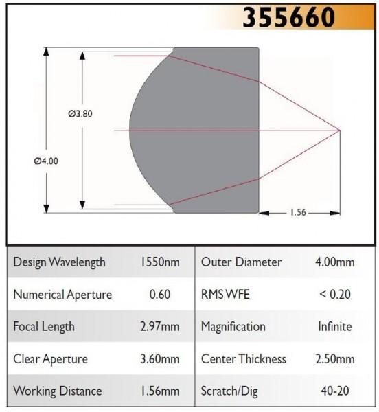 355660A Aspheric Lens, EFL 2.97, NA 0.60, CA 3.60, OD 4.00, A Coating