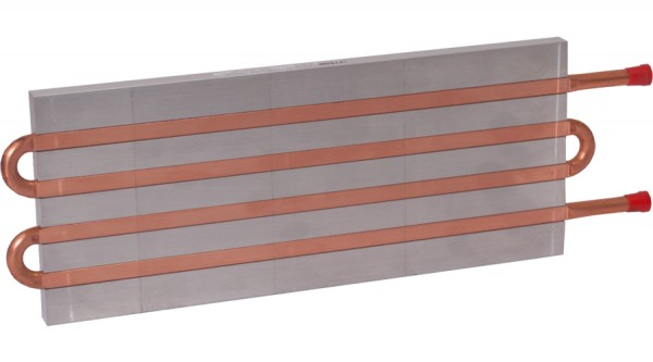 CP12G05 Aluminum Cold Plate with 4-Pass Copper tube, straight fittings