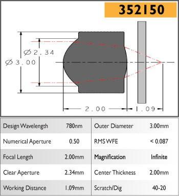 352150C Aspheric Lens, EFL 2.00, NA 0.50, CA 2.00, OD 3.00, C Coating