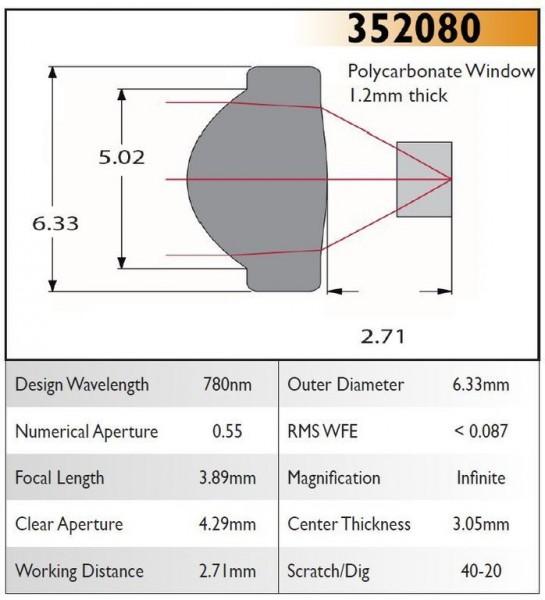 352080A Aspheric Lens, EFL 3.89, NA 0.55, CA 4.29, OD 6.33, A Coating