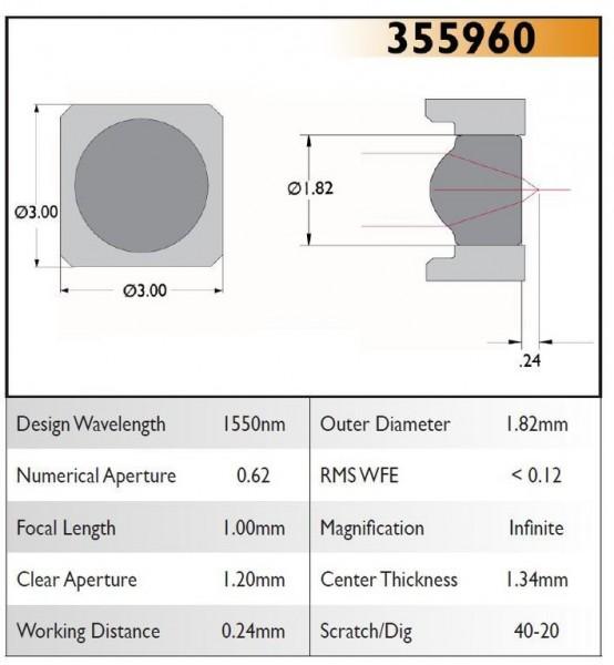 355960C Aspheric Lens, EFL 1.00, NA 0.62, CA 1.20, OD 1.82, C Coating