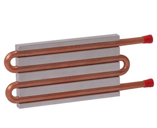 CP10G14 Aluminum Cold Plate with 4-Pass Copper tube, straight fittings