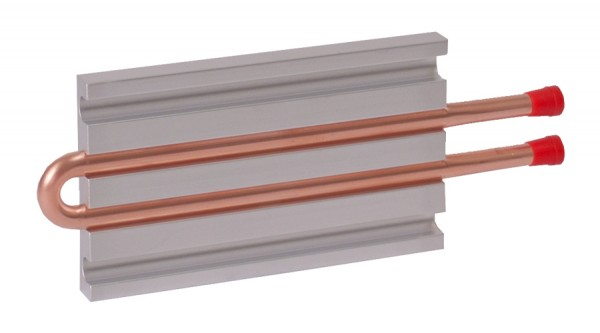 CP10G01 Aluminum Cold Plate with 2-Pass Copper tube, straight fittings