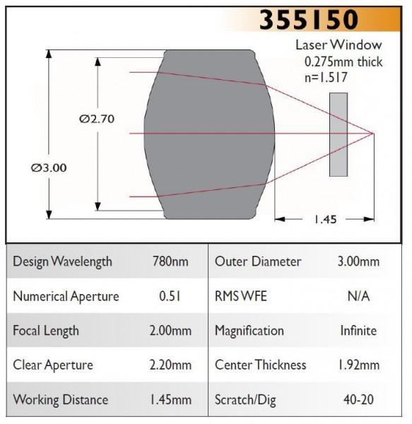 355150A Aspheric Lens, EFL 2.00, NA 0.51, CA 2.20, OD 3.00, A Coating