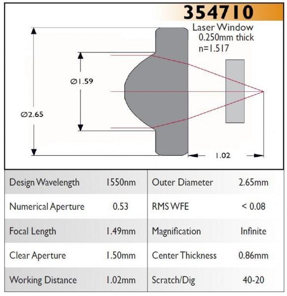 354710C Aspheric Lens, EFL 1.49, NA 0.53, CA 1.50, OD 2.65, C Coating