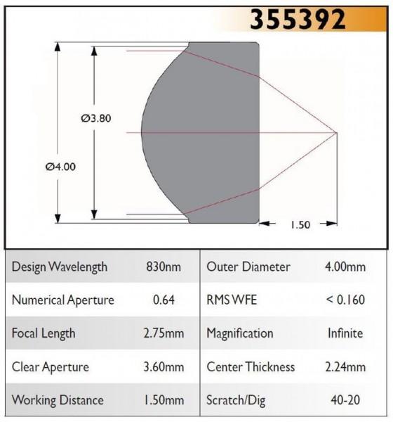 355392C Aspheric Lens, EFL 2.75, NA 0.64, CA 3.60, OD 4.00, C Coating