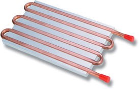 CP15G02 Aluminum Cold Plate with 6-Pass Copper tube, beaded fittings