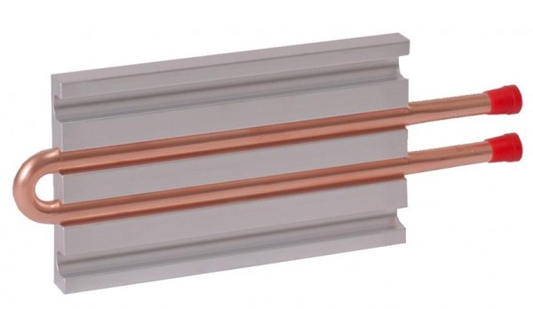 CP10G02 Aluminum Cold Plate with 2-Pass Copper tube, beaded fittings