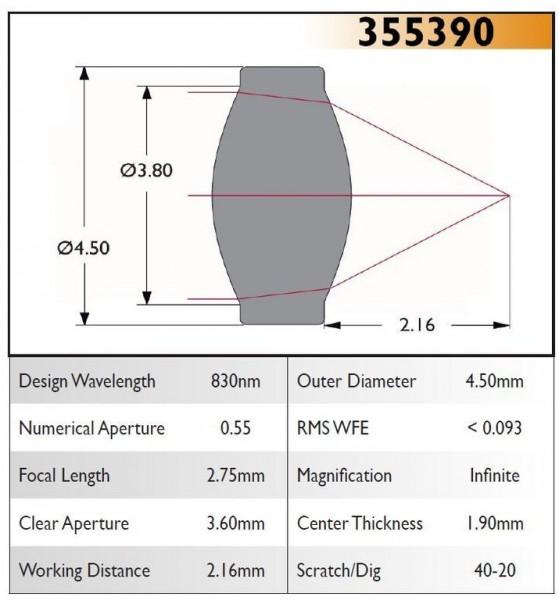 355390A Aspheric Lens, EFL 2.8, NA 0.6, CA 3.60, OD 4.50, A Coating