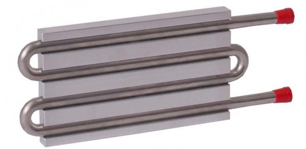 CP10G20 Aluminum Cold Plate with 4-Pass Stainless Steel tube, straight fittings