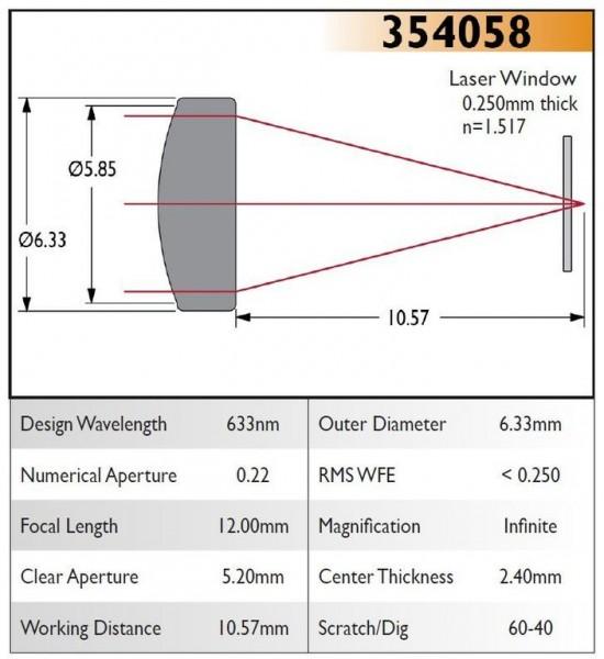 354058C Aspheric Lens, EFL 12.00, NA 0.22, CA 5.20, OD 6.33, C Coating