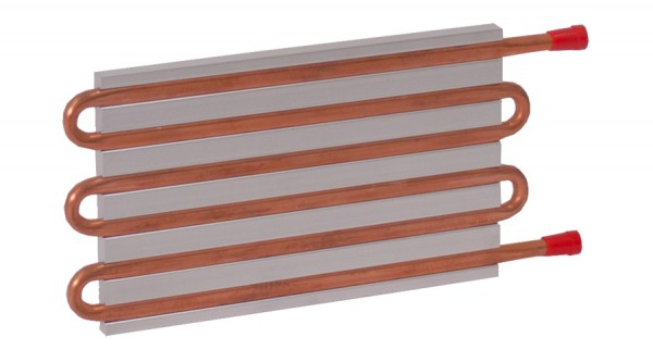 CP15G01 Aluminum Cold Plate with 6-Pass Copper tube, straight fittings