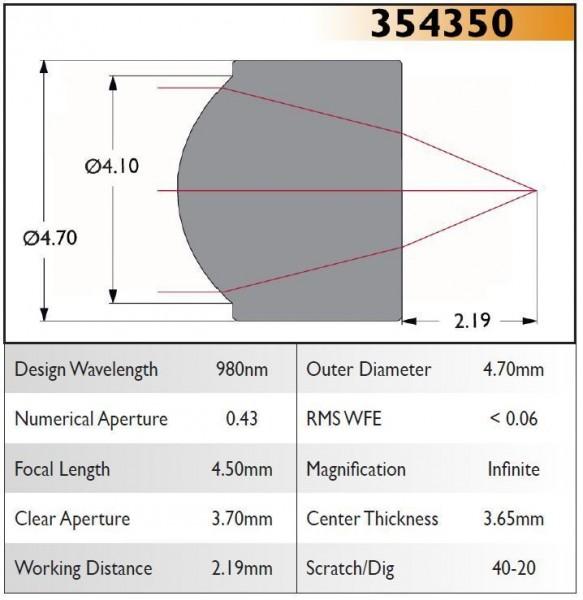 354350C Aspheric Lens, EFL 4.50, NA 0.43, CA 3.70, OD 4.70, C Coating