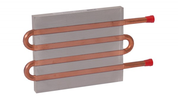 CP12G01 Aluminum Cold Plate with 4-Pass Copper tube, straight fittings